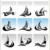 Sea Graphics Series -   Ship Sailing  Icon Set