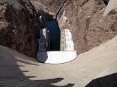 Breath Taking View Of The Colorado River, Hoover Dam Wall Looking Downwards To Generators