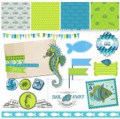 Scrapbook Design Element - Tropical Fish and Sea Horse Theme - in vector