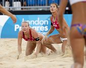 12/08/2011 LONDON, ENGLAND, Shauna Mullin & Zara Dampney (GBR) vs Alejandra Simon & Andrea Garci�?�­a Gonzalo (ESP) during the FIVB Beach Volleyball, at Horse Guards Parade, Westminster, London.