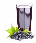 Ripe Blackberry With Green Leaves And Fresh Juice In Glass