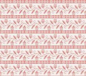 seamless knitted pattern with red flower. vector illustration