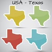 stickers in form of Texas state, USA