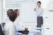 Businesswoman giving presentation in front of her colleagues in bright office