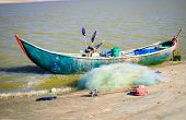 Prepare For The Trip Out To Sea, Old Woven Bamboo Fishing Boat