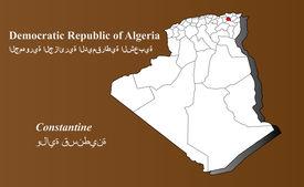 pic of khenchela  - Algeria map in 3D on brown background - JPG