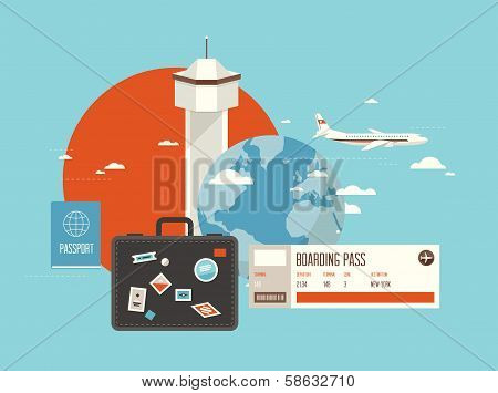 Flat Illustration Of Travel On Airplane poster