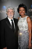 George Lucas and Mellody Hobson at the 40th Annual Daytime Emmy Awards, Beverly Hilton Hotel, Beverl