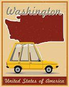 washington road trip vintage poster