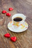 Cup Of Coffee With Heart Shaped Candy