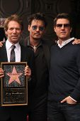 Jerry Bruckheimer, Johnny Depp and Tom Cruise at the Jerry Bruckheimer Star on the Hollywood Walk of Fame ceremony, Hollywood, CA 06-24-13