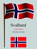 Svalbard Wavy Flag And Coordinates