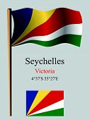 Seychelles Wavy Flag And Coordinates