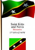 Saint Kitts And Nevis Wavy Flag And Coordinates