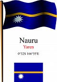 Nauru Wavy Flag And Coordinates
