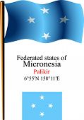 Micronesia Wavy Flag And Coordinates