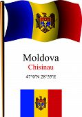 Moldova Wavy Flag And Coordinates