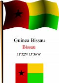 Guinea Bissau Wavy Flag And Coordinates