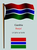 Gambia Wavy Flag And Coordinates