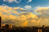 Kiev With Dramatic Cloud Cover, Gh. Beautiful Colors Phenomenon In Dark Blue Sky, Overcast Weather.