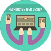 Responsive Web Design Round Turquoise Concept
