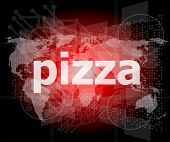 Pizza, Hi-tech Background, Digital Business Touch Screen