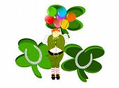 leprechaun large balloons clovers