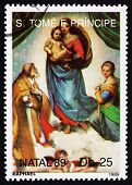 Postage Stamp Sao Tome And Principe 1989 Sistine Madonna, By Rap
