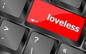 pic of loveless  - loveless on key or keyboard showing internet dating concept - JPG