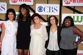 Julie Chen, Aisha Tyler, Sharon Osbourne, Sara Gilbert and Sheryl Underwood at the CBS, Showtime, CW