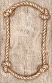 Rope Frame And Burlap Background