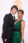 Matt Prokop and Sarah Hyland at the 65th Annual Primetime Emmy Awards Arrivals, Nokia Theater, Los Angeles, CA 09-22-13