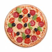 Pizza With Salami, Olives And Basil Isolated On White