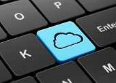 Cloud technology concept: Cloud on computer keyboard background