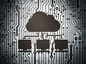 Cloud computing concept: circuit board with Cloud Network