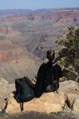 Backpacker Looking Over Grand Canyon