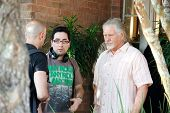 Patricio Valladares and William Forsythe on the set of