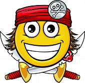 stock photo of crossed swords  - vector cartoon smiley with pirate style and attribute - JPG