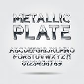 Metallic Font And Numbers, Eps 10 Vector, Editable For Any Background