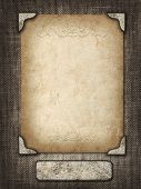 Vintage Card In A Carved Frame On Fabric Background