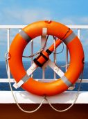 Life Buoy On Deck Of A Ship