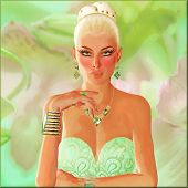 Blonde Beauty on Green Abstract