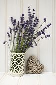Beautiful Fragrant Lavender Bunch In Rustic Home Styled Setting With Copy Space