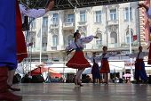 ZAGREB, CROATIA - JULY 16: Folk group Selkirk, Manitoba, Ukrainian Dance Ensemble Troyanda from Cana