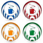 Set Of Four Icon With Cup Of Coffee