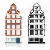 Baroque Townhouse Vector Illustration. Color and Monochrome version on separate layers. Clean vector
