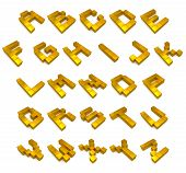 Alphabet 3D Cubic Golden