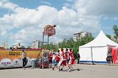 Perm, Russia - Jun 13, 2013: Young People Play At Youth Basketball Tournament At Festival White Nigh