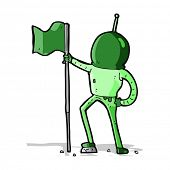 cartoon astronaut planting flag