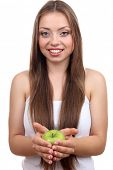 Beautiful girl with green apple, isolated on white